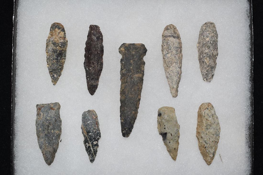 Lot of 9 New England Rhyolite points. Longest 2.3/8