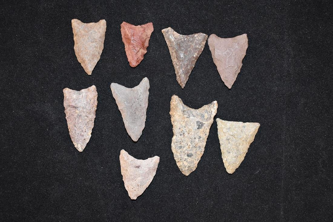 Lot of 9 New England Rhyolite points. Longest 1.3/4