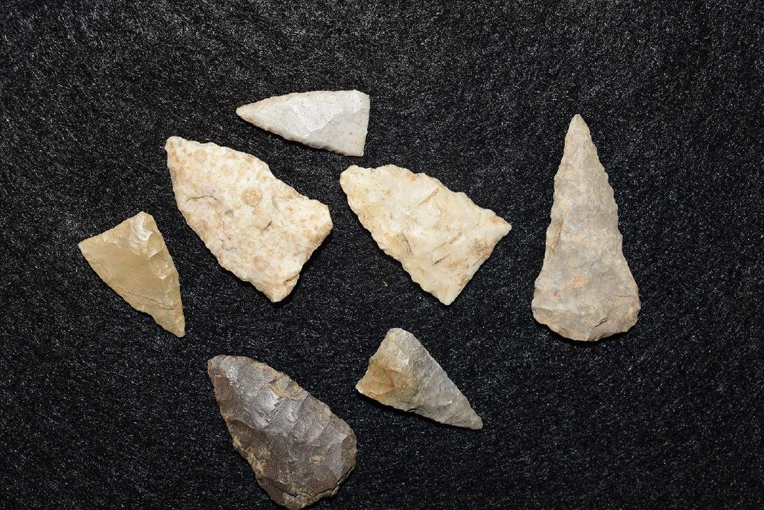 Lot of 7 triangles from Ohio, longest 1.3/8 inches