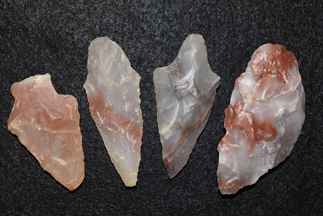 4 colorful Novaculite points, Arkansas, longest 2.3/4""