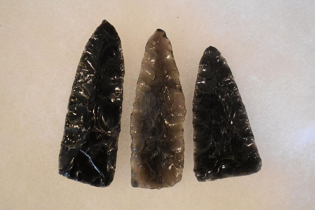 Lot of 3 Obsidian Blades, Nice, Longest is 3.1/2