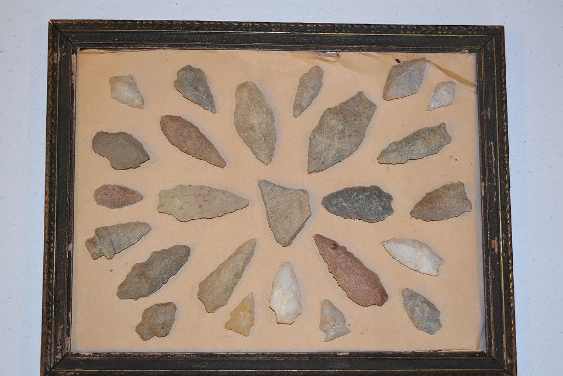 Antique frame of New England Points, 24 Arrowheads,