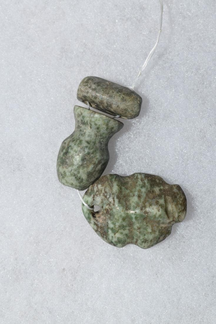 Pre-Columbian Jade Beads, with human effigy pendant,