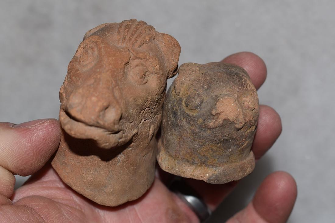 "2 Pottery Effigies, Central America, Largest 2.1/4"""