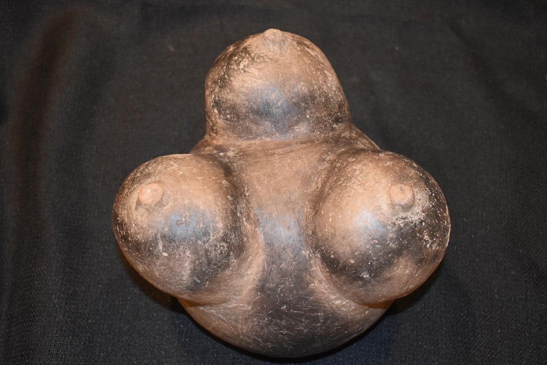 "Pre-Columbian Tri Leg Pottery Vessel, 7"" dia, 5.1/2"" - 3"