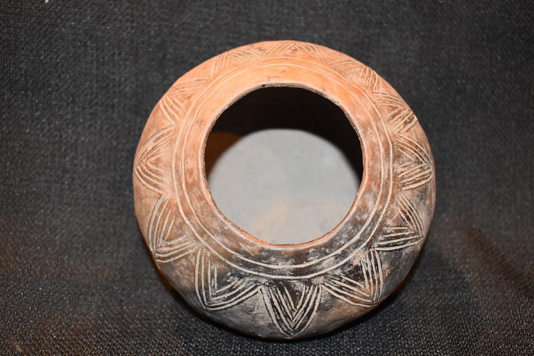 "Pre-Columbian Designed Jar, 5"" dia, 3.1/4"" tall, - 3"