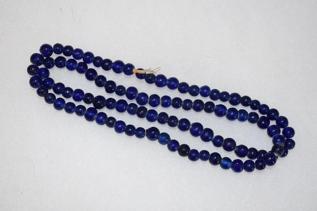 "Blue Glass Trade Bead Necklace, 24"", East Coast"