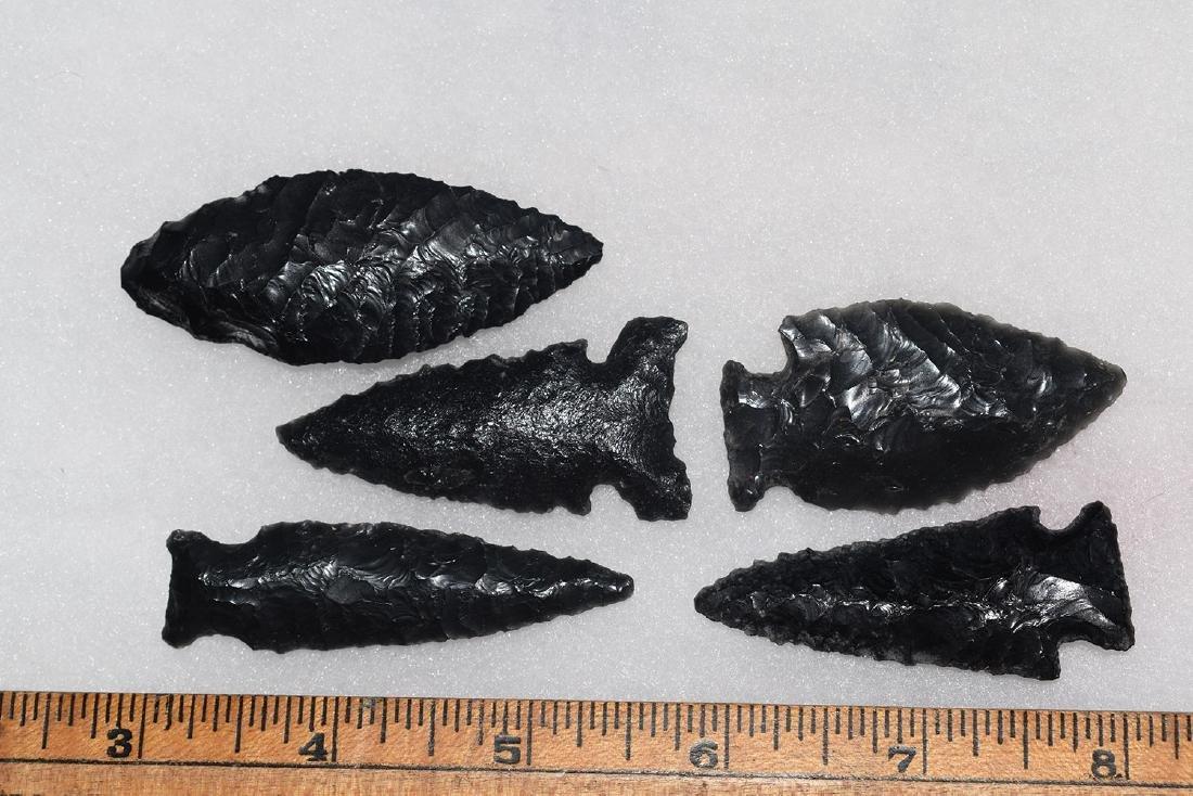 5 California Gem Obsidian Points, Ex Dr Green
