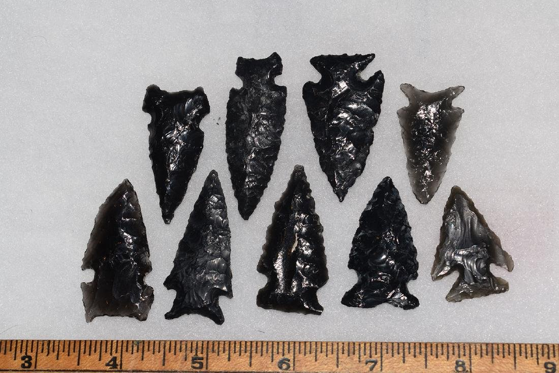 9 California Gem Obsidian Points, Ex Dr Green
