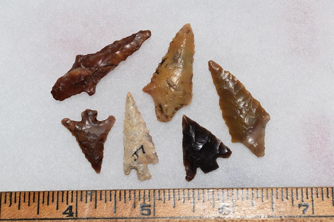 6 Western Gem Grade Bird Points, Some Columbia River,