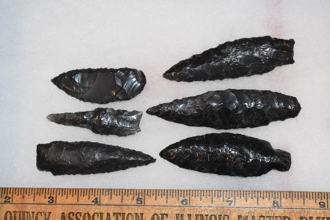 6 California Obsidian Arrowheads