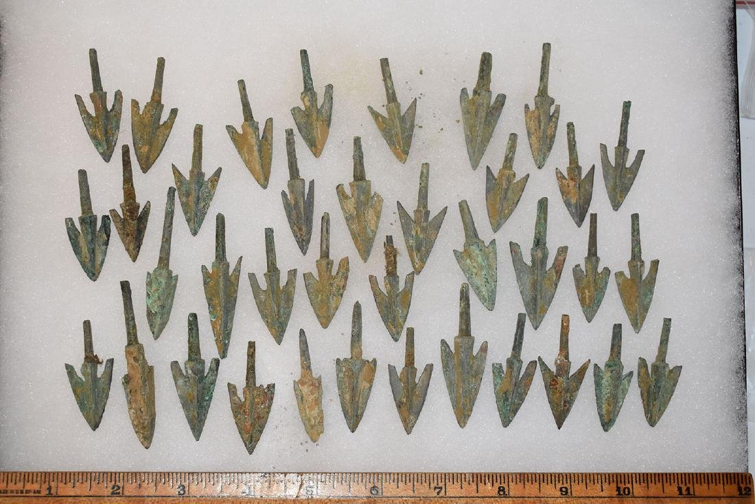 lot of 37 Bronze Age Roman Arrowheads