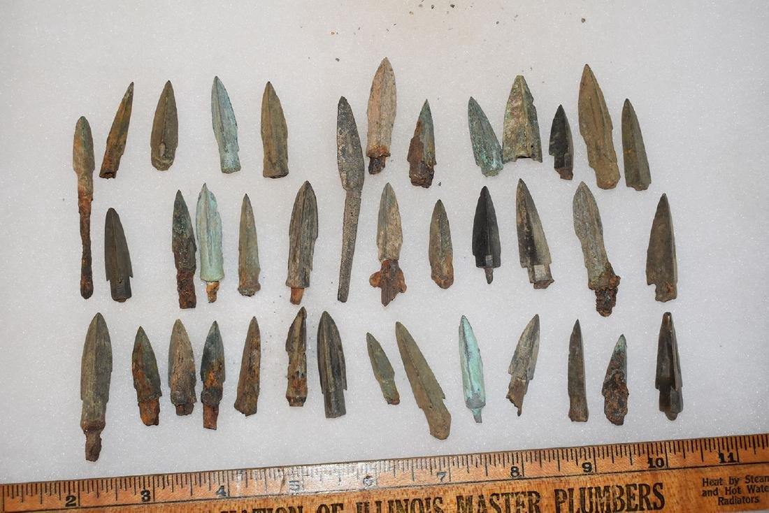 lot of 38 Bronze Age Roman Arrowheads