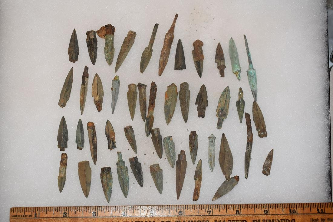 lot of 45 Bronze Age Roman Arrowheads