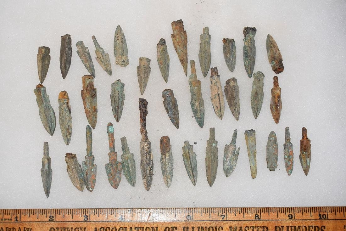 lot of 36 Bronze Age Roman Arrowheads