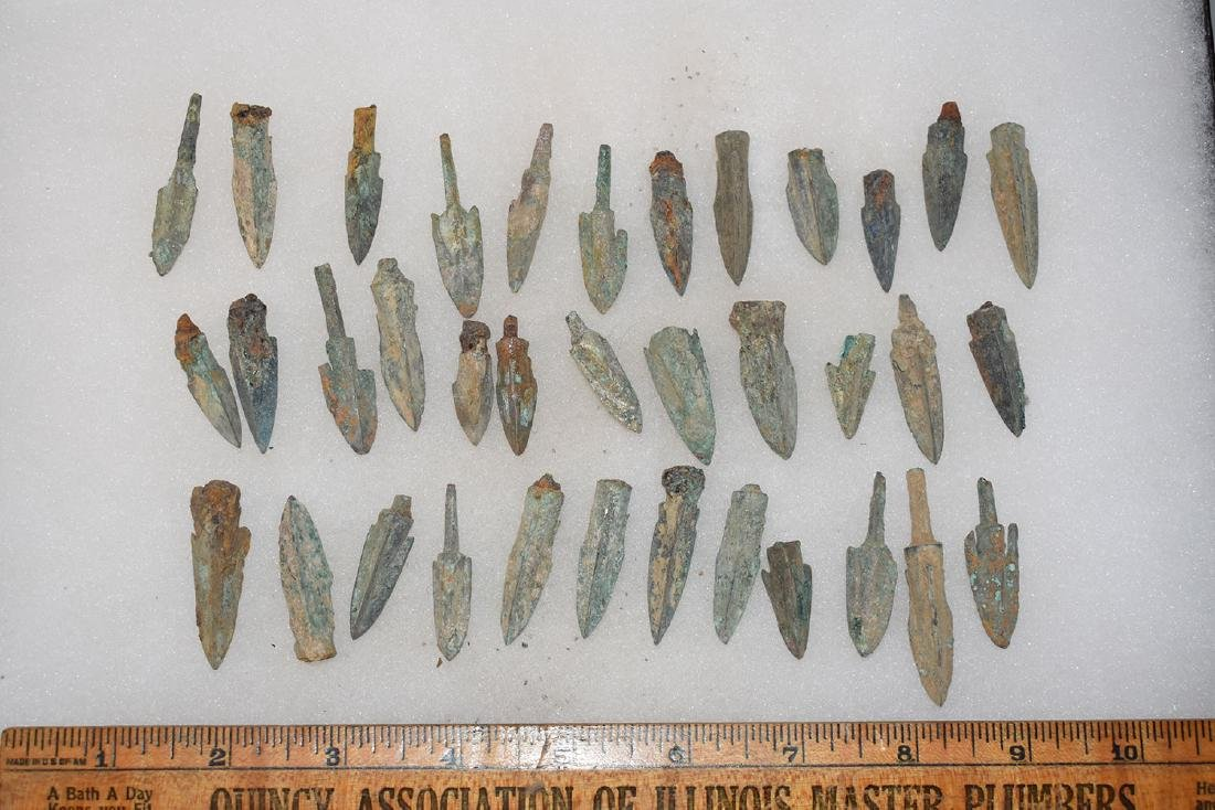 lot of 35 Bronze Age Roman Arrowheads