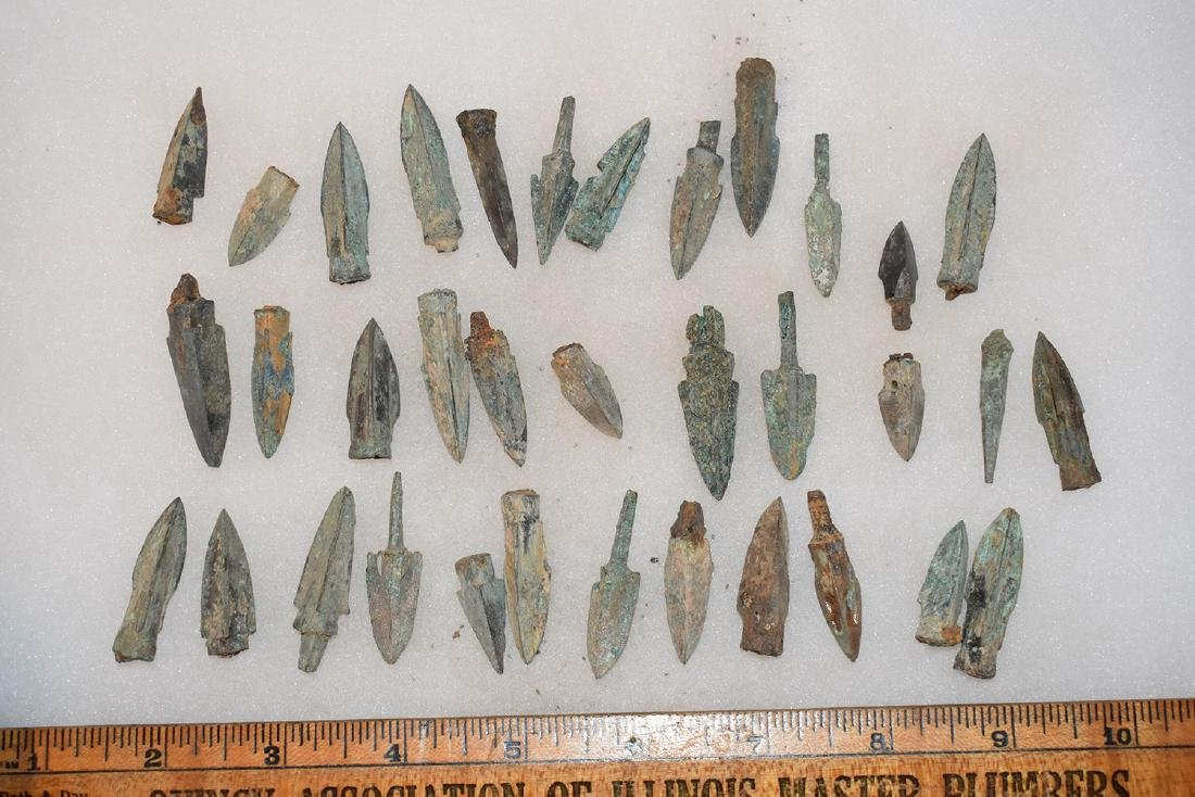lot of 35 Bronze Age Roman Arrowheads