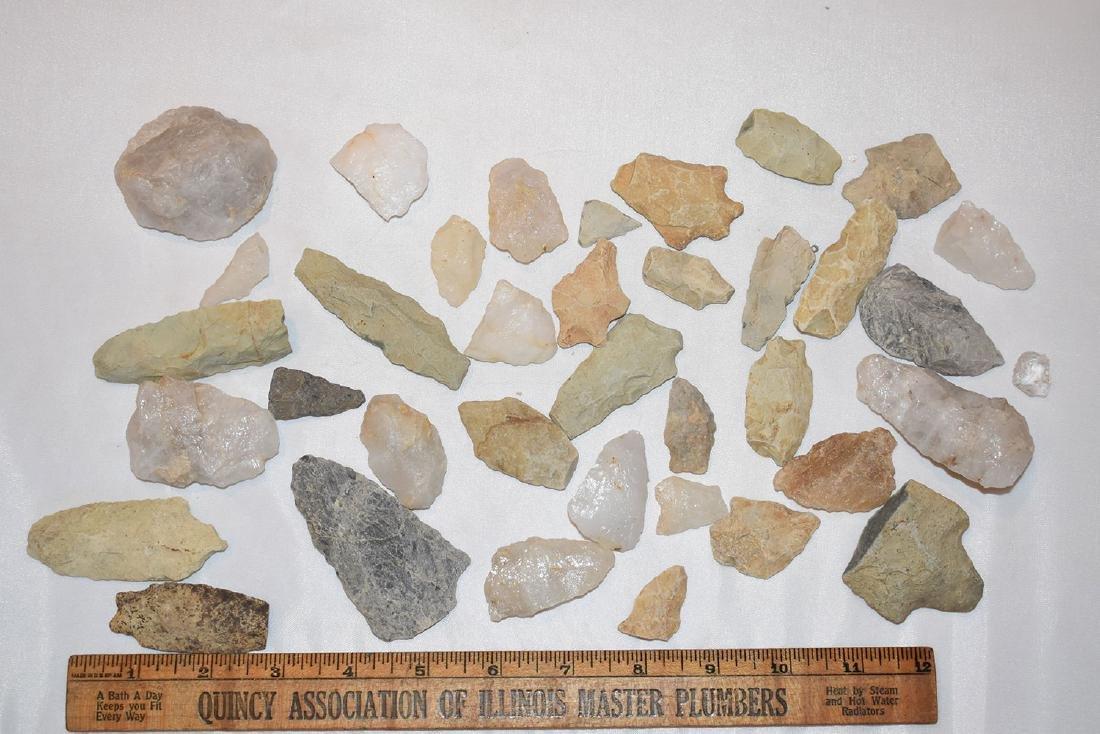 Lot of Arrowheads, from North Carolina, Some Quartz
