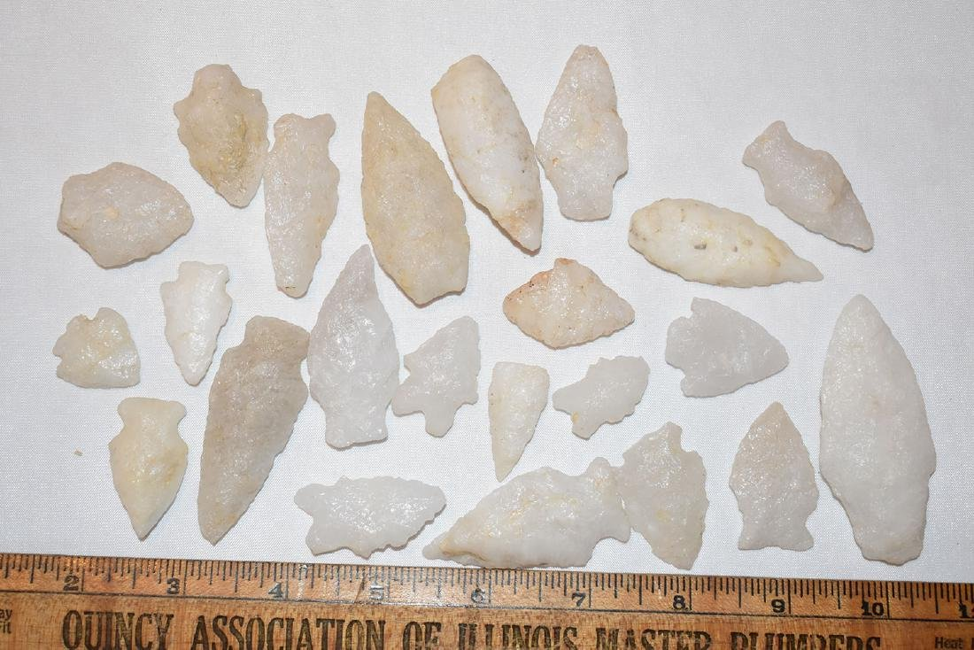 Lot of Quartz Arrowheads, Found By Harry Stauffer,