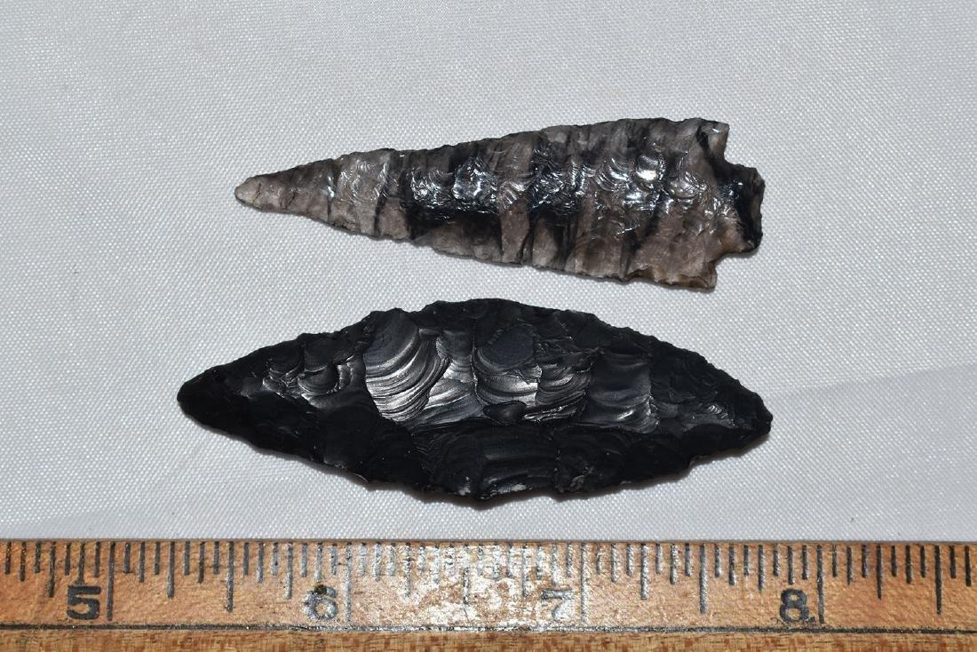 2 Nice California Obsidion Arrowheads