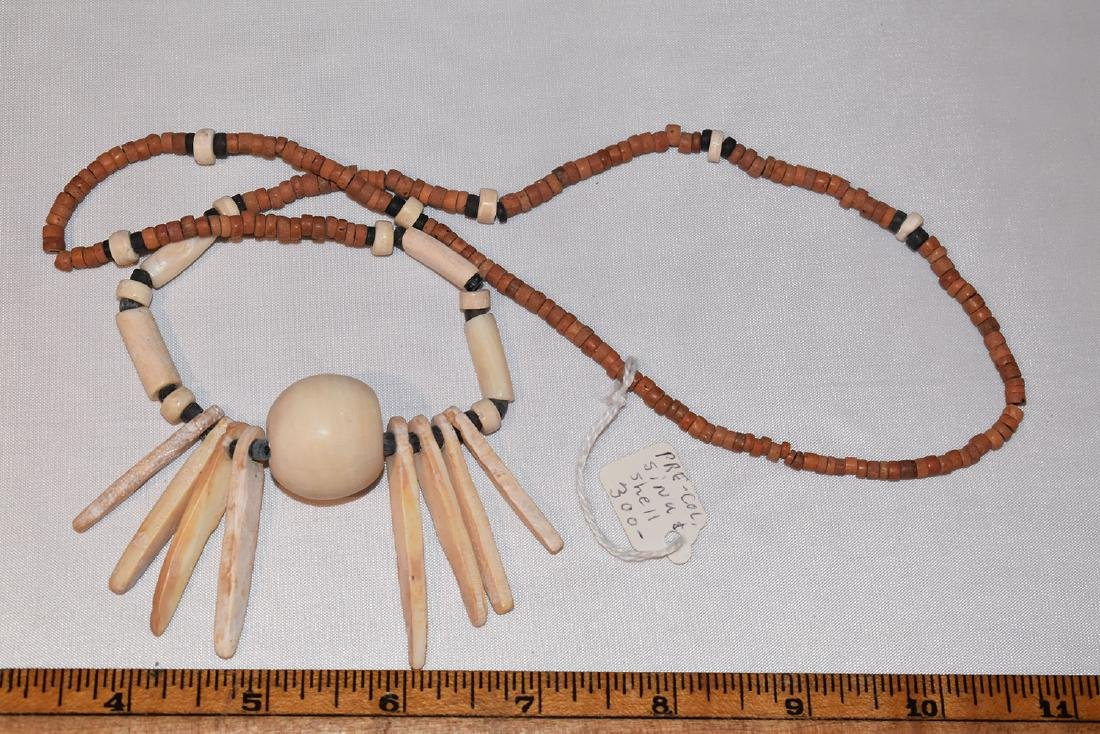 Early Prehistoric Bead Necklace, Shell Pendent,