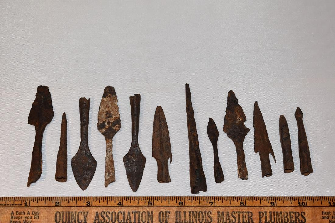 12 Iron Arrowheads, Roman, Socketed