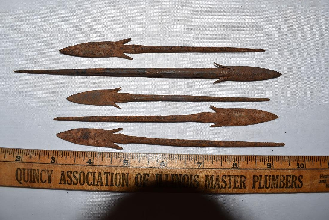 Well Made Historic African Iron Arrowheads / Spear Tips