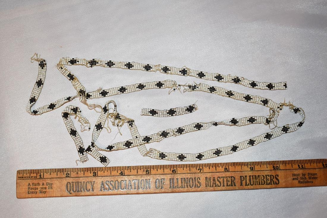 Very Early Beaded Sash, Black / White, poor condition