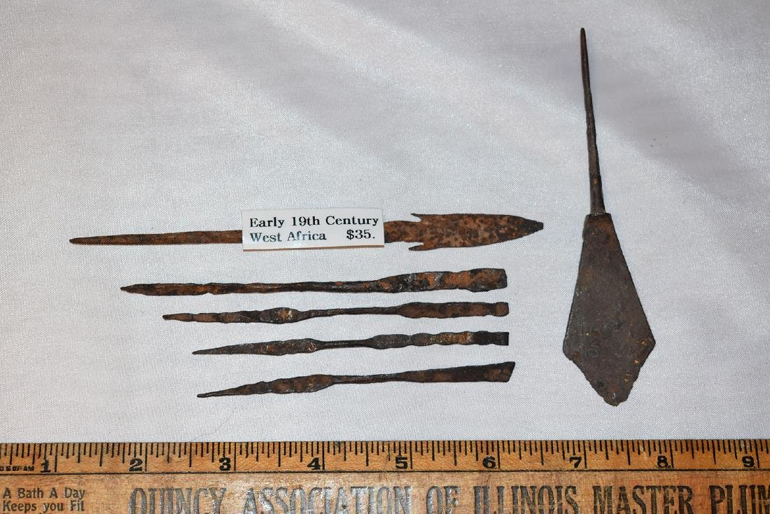 5 African Iron Spear Heads and 1 Roman one