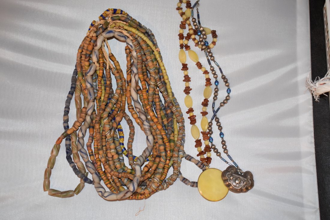 Lot of 15 African neolithic Necklaces, approx 23 inches
