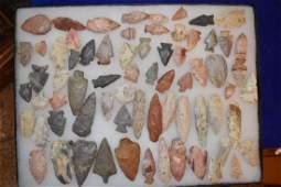 Frame of Arrowheads found near Terre Haute IN Approx