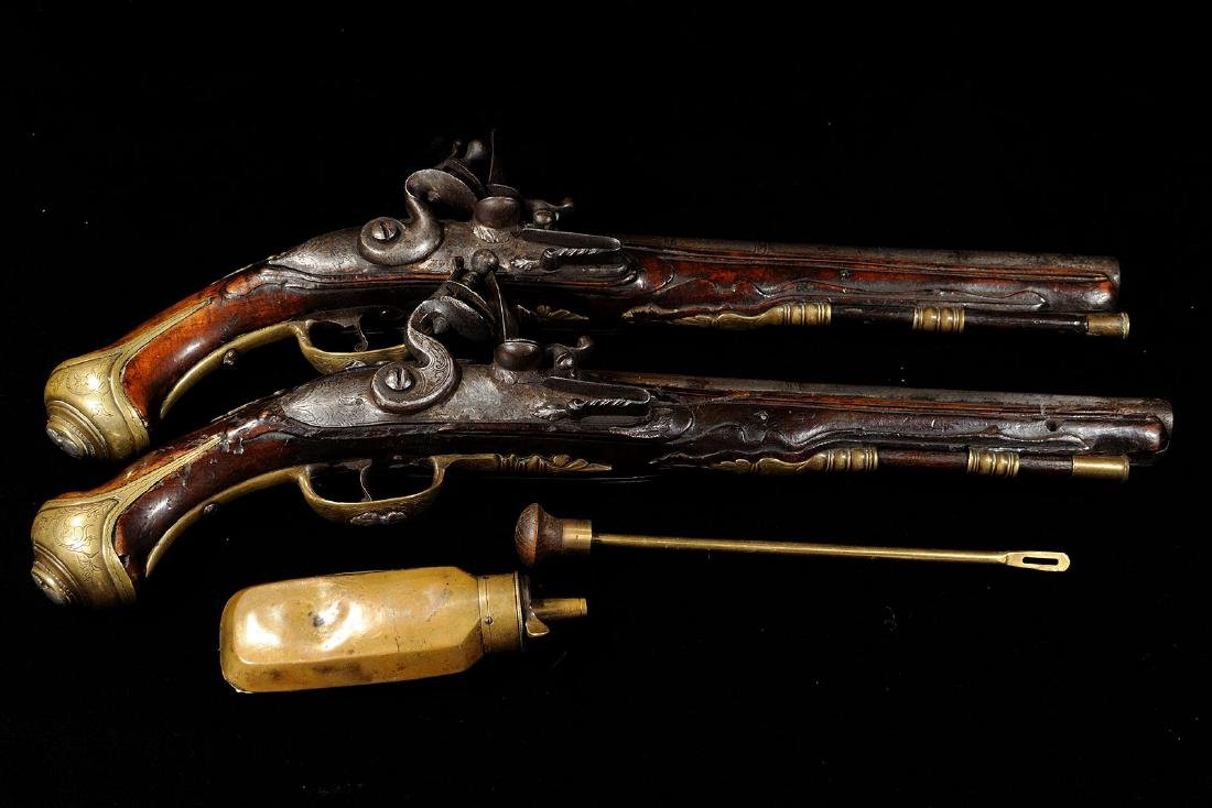 All Original Dueling Set, Flint Lock Pistols, English,