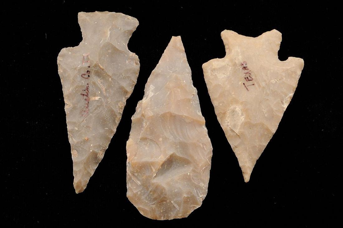3 Texas Arrowheads, Longest 2.8 inches
