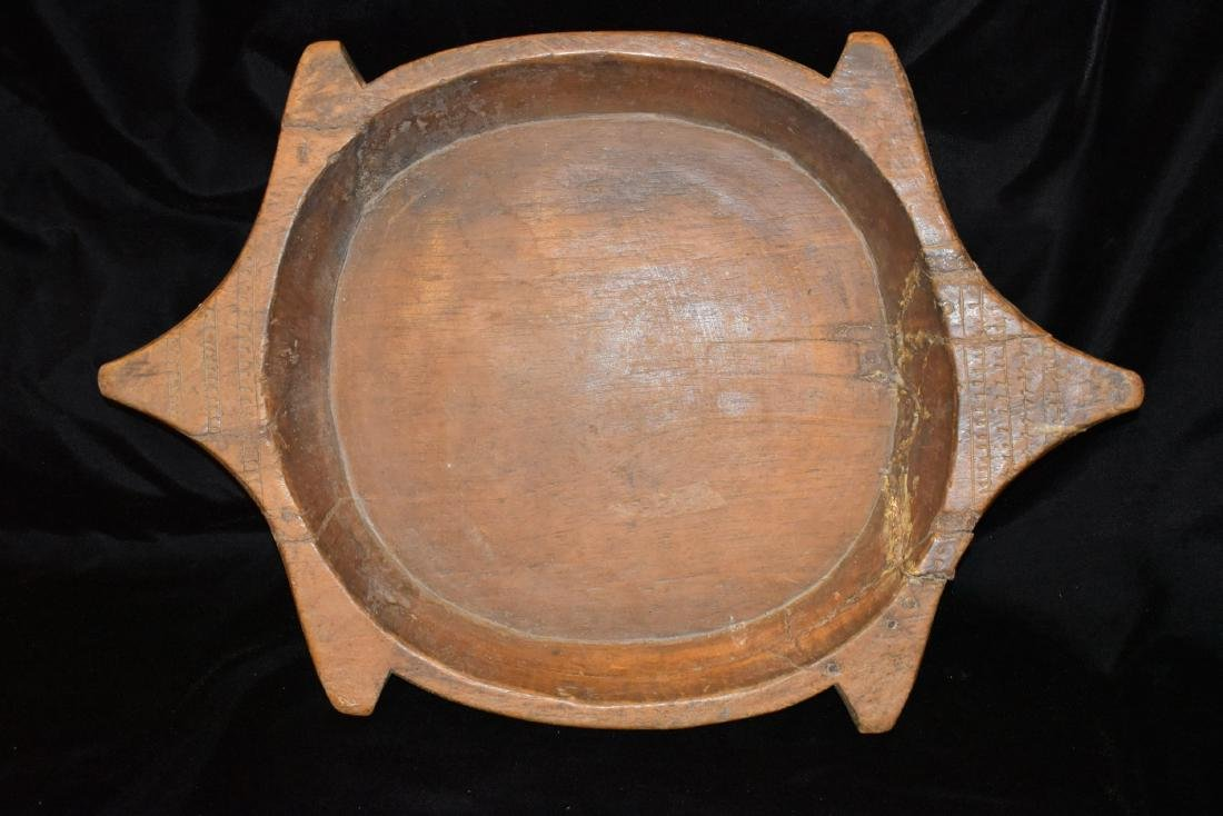 "Wooden Turtle Effigy Bowl, 25"", Likely 1800's, Very"