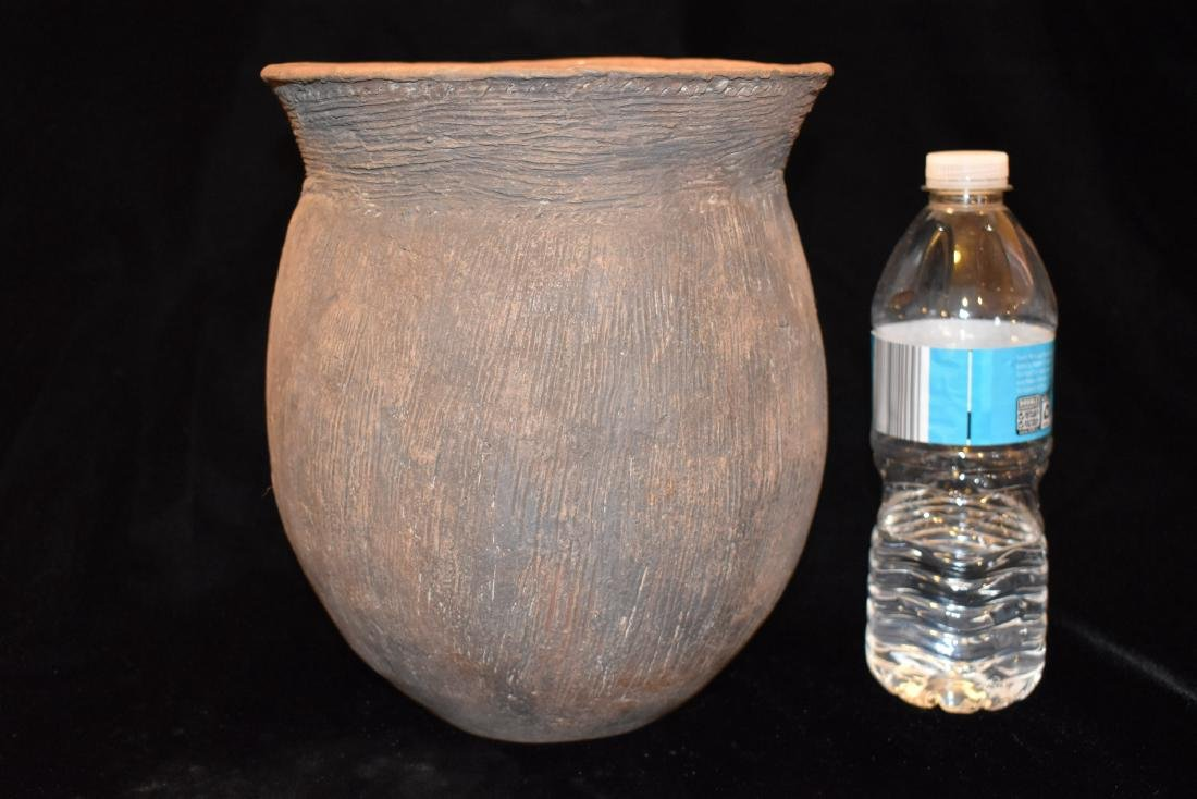 "9"" Tall, 7.1/2"" Diameter, Caddo Karnak Brushed Jar,"