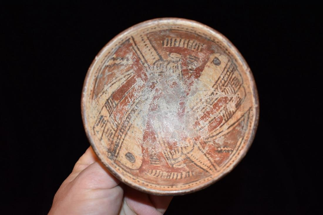 """4.3/8"""" dia 1.3/4"""" T Pre-Columbian Painted Vessel, Great"""