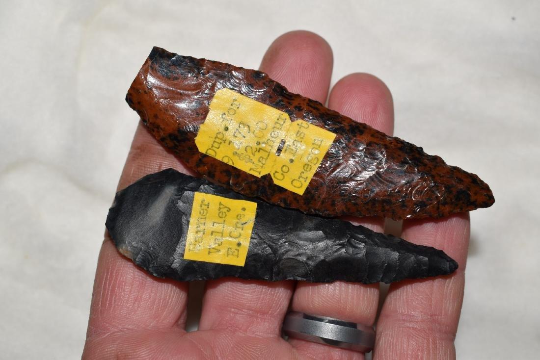 2 Obsidian Points, Warner Co OR, Malheur Co OR