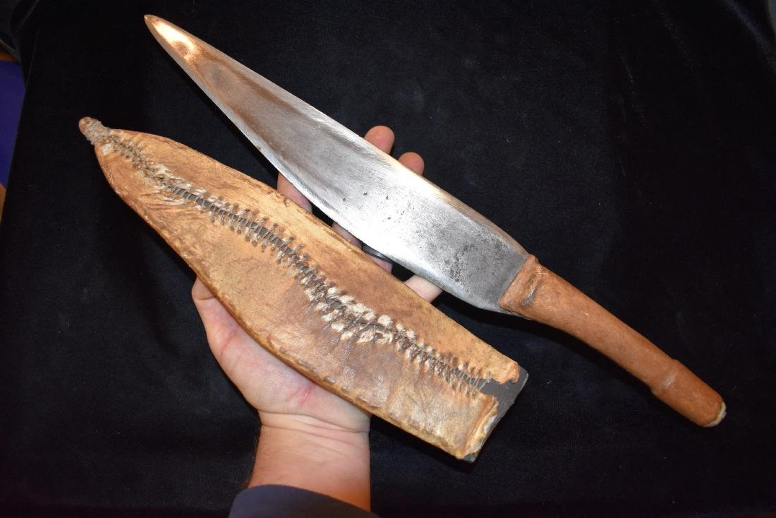 "17"" Handmade Knife, Likely Africa, Plastic and Hide"