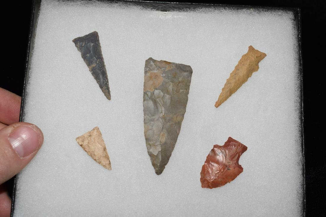 Lot of 5 Arrowheads, Arkansas, Centerpiece is 2.1/2""