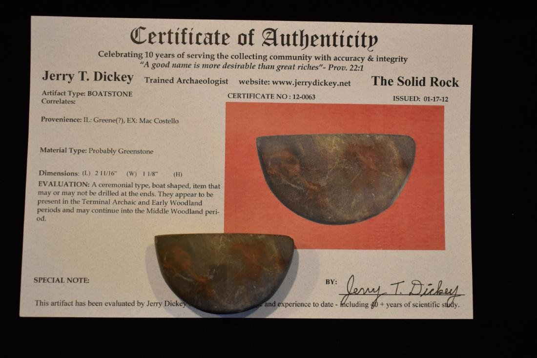 "2.11/16"" Boatstone, Greene Co IL, Dickey COA, Ex Mac - 6"