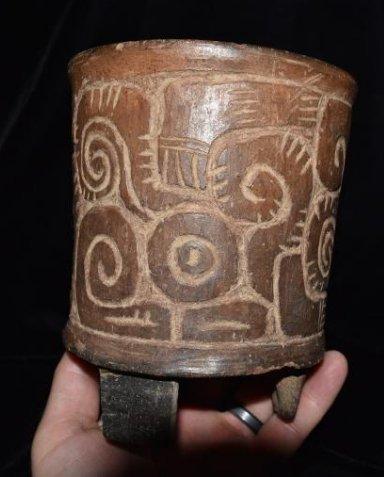 "4.7/8""d 5.3/4""t Pre-Columbian Pottery Vessel Tri Leg,"