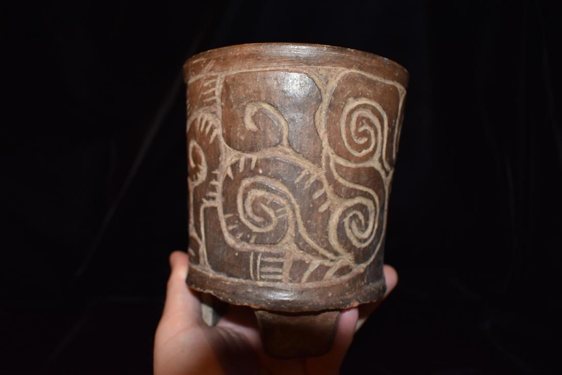 "4.7/8""d 5.3/4""t Pre-Columbian Pottery Vessel Tri Leg, - 2"