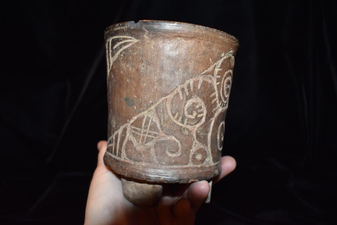 "4.7/8""d 5.3/4""t Pre-Columbian Pottery Vessel Tri Leg, - 4"