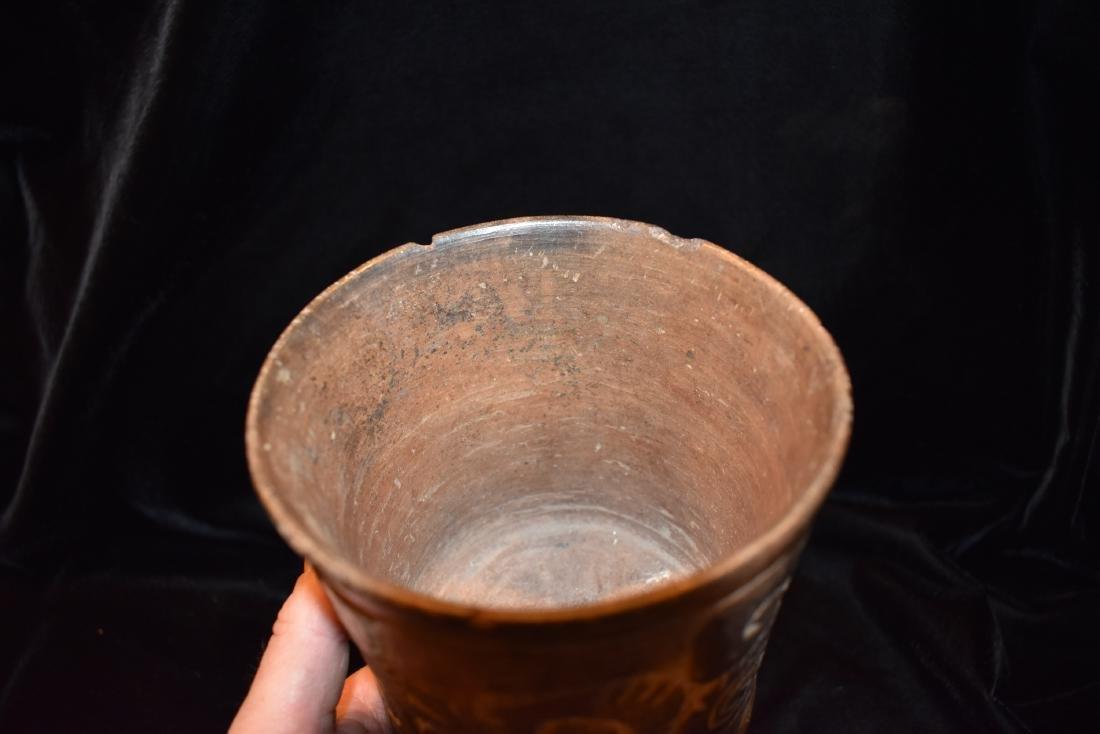 "4.7/8""d 5.3/4""t Pre-Columbian Pottery Vessel Tri Leg, - 6"