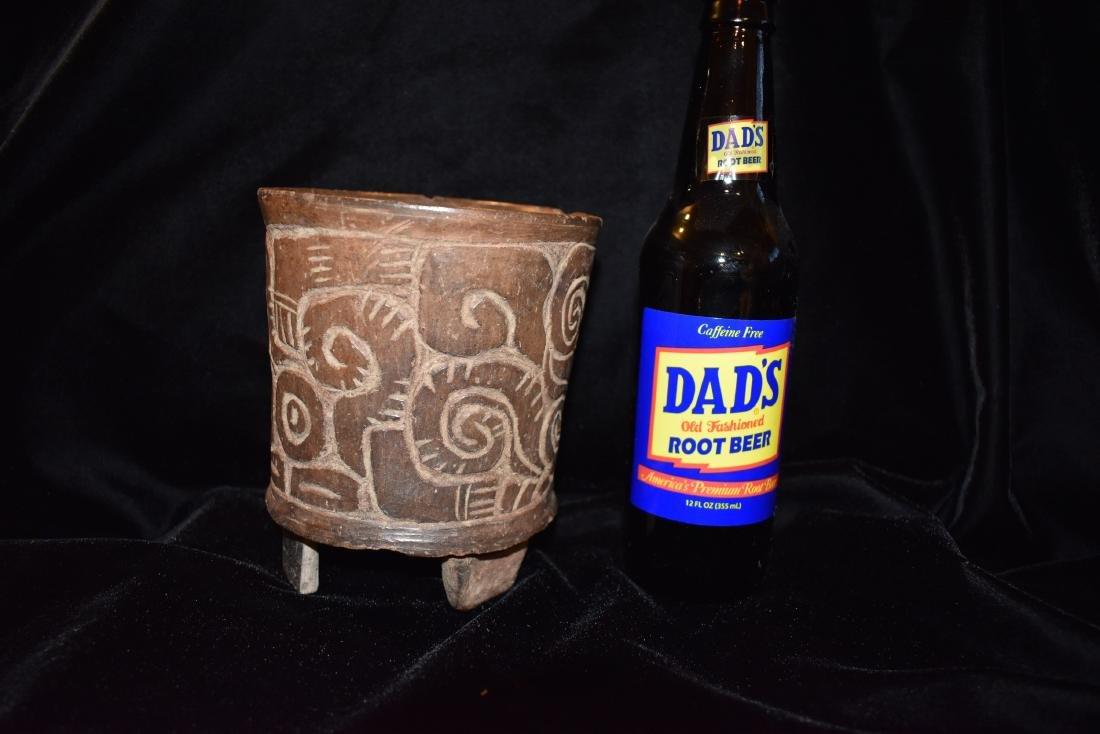 "4.7/8""d 5.3/4""t Pre-Columbian Pottery Vessel Tri Leg, - 8"
