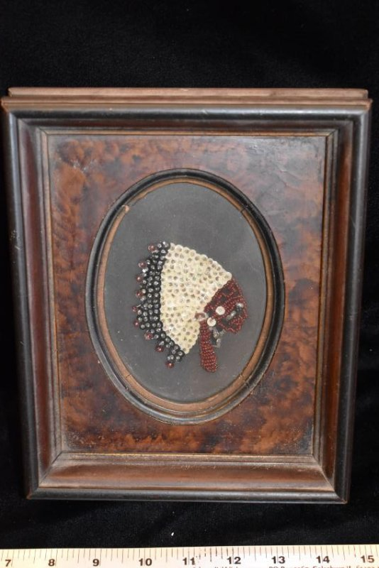 Antique Beaded item, Nice Wooden Frame, 7.1/2x9""