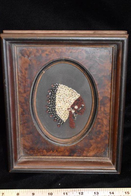 "Antique Beaded item, Nice Wooden Frame, 7.1/2x9"""