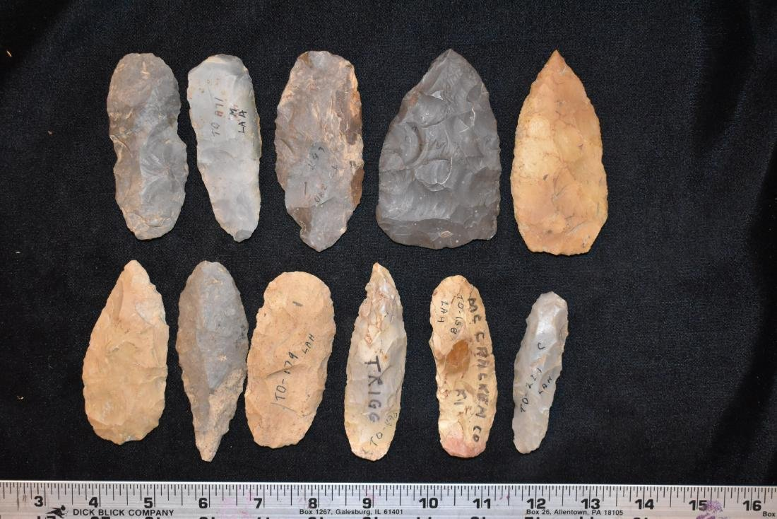 Lot of Larger Arrowheads, Lyman Hussey Collection