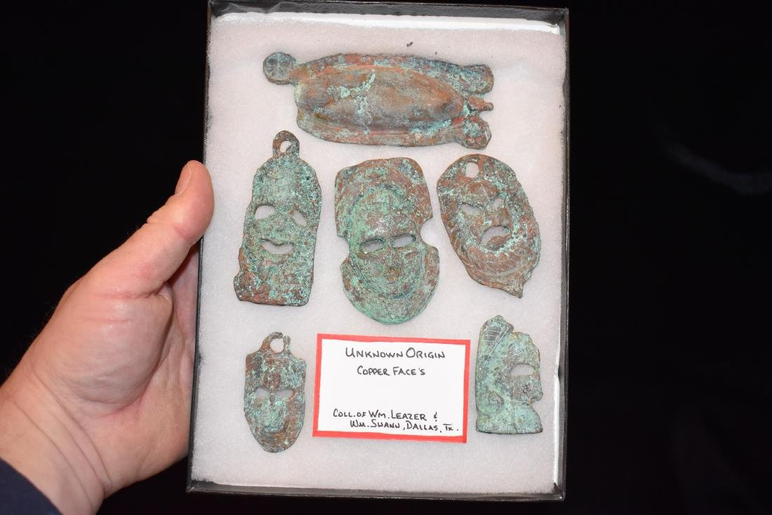 Lot of Copper Faces, Unknown Origin, Collection of