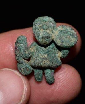 "1"" Pre-Columbian Bronze Warrior Effigy, Peru, Chimu,"